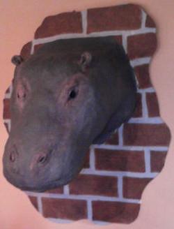 Paper Mache Hippo Head